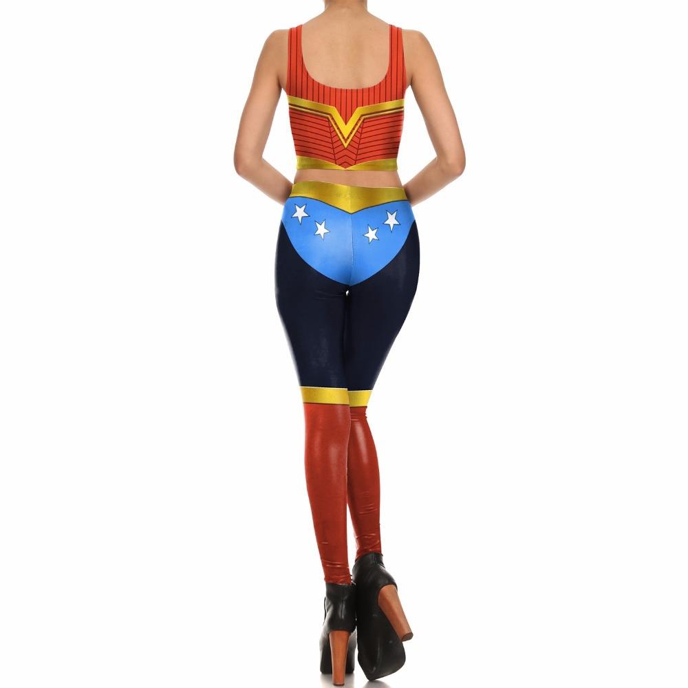 c8df292d33 NEW 1693 Sexy Girl leggins Superwoman Wonder Woman Cosplay Prints Women  Leggings Crop Top Vest bra Sets Fitness Workout Suit-in Women s Sets from  Women s ...