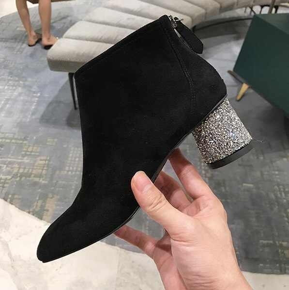 Women Ankle Boots Black Stretch Fabric Square Heel Shoes Woman Winter Bling  Bling Glitter Chunky Heels c8b03fa57fd7