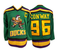 Mighty Ducks Movie Jersey 96 Charlie Conway Hockey Jersey Green White S XXXL Free Shipping