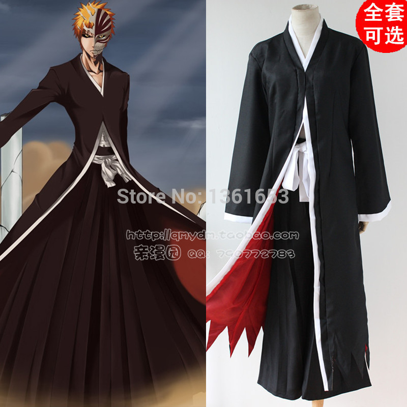 Anime Bleach Ichigo Kurosaki Men's Bankai Cosplay Costume hallowean costume for man and women party clothes