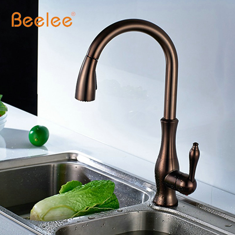 Beelee Spring Style Oil Rubbed Bronze Kitchen Faucets Grifo Pull Out ...