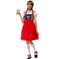 Oktoberfest Beer Festival October Dirndl Red Maid Peasant Skirt Dress Apron Blouse Gown German Wench Costume