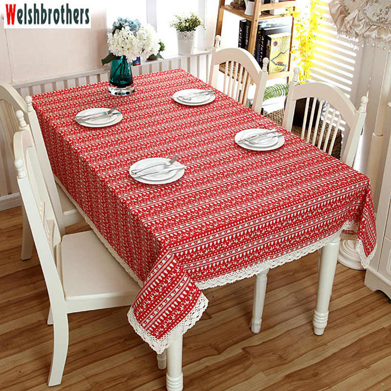 Red Christmas Tablecloth Christmas Tree Deer Printed Cotton and Polyester Tablecloth Dust Cover with Lace 145 * 300cm 37 Size