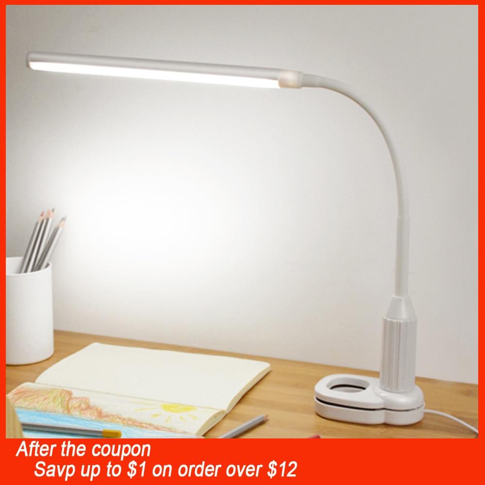 5 W 24 LED ojo proteger Clip lámpara de mesa de luz continua regulable flexible USB Sensor táctil Control de lectura de lámpara de escritorio
