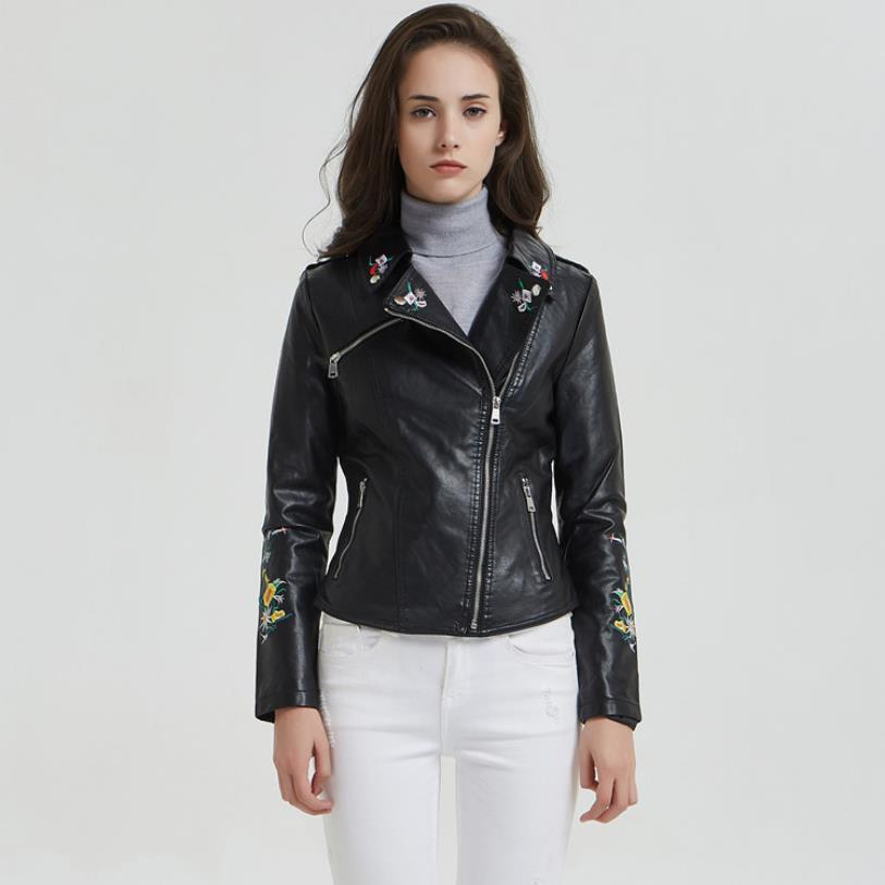 Spring and autumn new fashion brand   leather   jackets female short embroidery Korean fashion motorcycle PU jacket wq1076 dropship