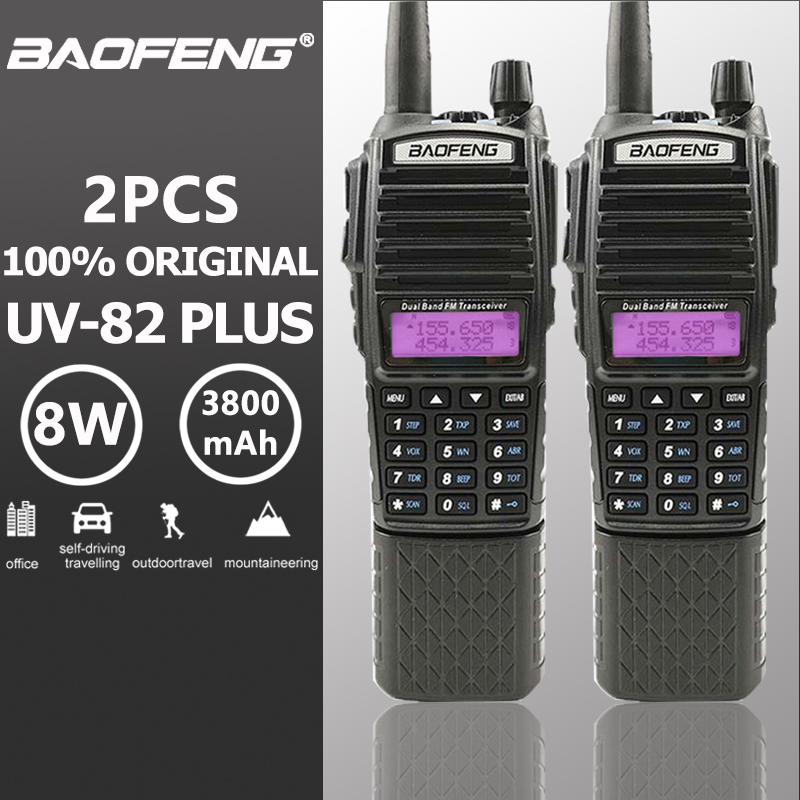 2 pcs Baofeng UV-82 Plus Talkie Walkie 3800 mAh Batterie Longue Veille Double PTT Dual Band Two Way Radio UV82 talkie Walkie Émetteur-Récepteur