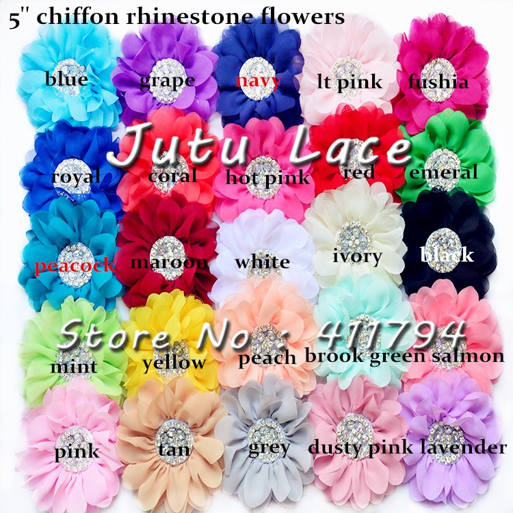 60 pcs/lot , 5'' big shabby chiffon flower with rhinestone for headband apparel hair accessories 25 colors