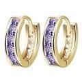 One Pair Elegant Gold Plating Purple Cubic Zirconia Women's Hoop Huggie Earing Girls Jewelry Engagement Gift