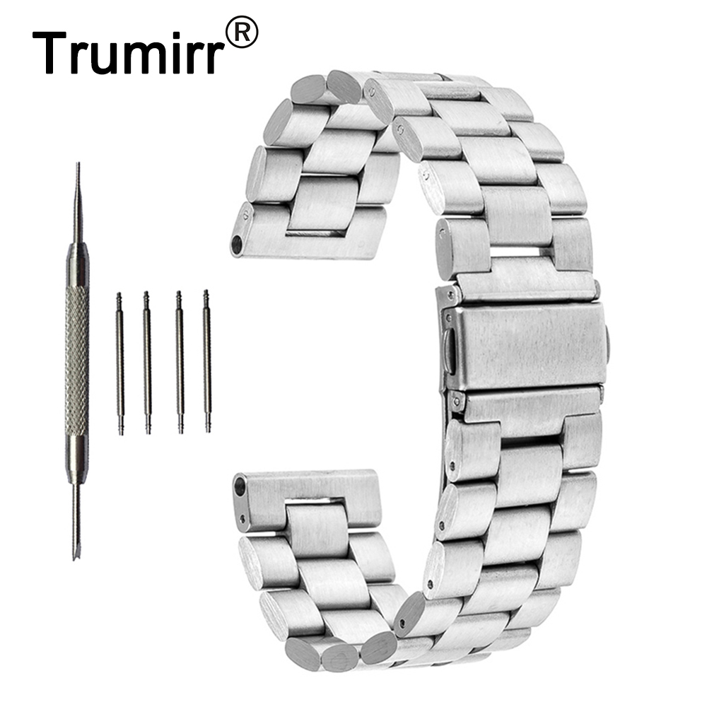 24mm Stainless Steel Watchband 3 Pointer for Sony Smartwatch 2 SW2 Replacement Watch Band Strap Bracelet Black Rose Gold Silver