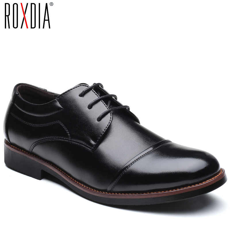 ROXDIA men dress shoes formal business work soft patent leather pointed toe for man male men's oxford flats RXM074 size 39-48
