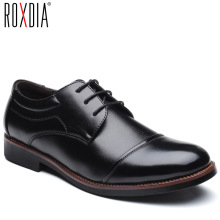 ROXDIA men dress shoes formal business work soft patent leather pointed toe for man male mens oxford flats RXM074 size 39 48