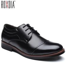 Мужские классические туфли ROXDIA, деловые туфли из мягкой лакированной кожи, с острым носком, оксфорды на плоской подошве, модель RXM074, размеры 39 48, 2019