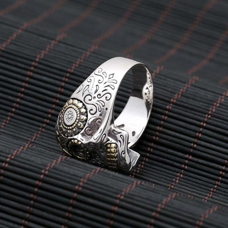 100% pur 925 argent Sterling crâne Vintage anneaux pour hommes rétro croix et soleil Fower gravé Vintage Punk Rock mâle bijoux fins - 4