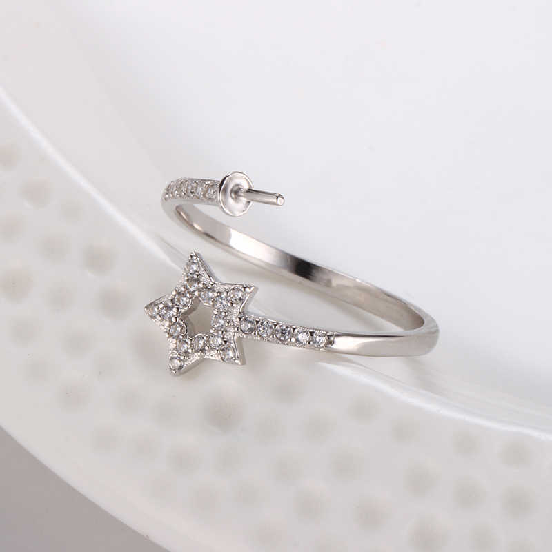 3 шт 925 Мода стерлингового серебра регулируемое кольцо аксессуары элегантный полый Полный AAA циркон пять звезд кольцо DIY ювелирные изделия
