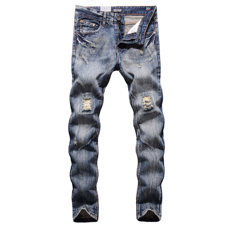Original New Hot Sale Fashion Men Jeans Dsel Brand Straight Fit Ripped Jeans Italian Designer Distressed Denim Jeans Homme!604-C 2017 new original high quality dsel brand men jeans straight fit distressed ripped jeans for men dsel brand jeans home 604 a