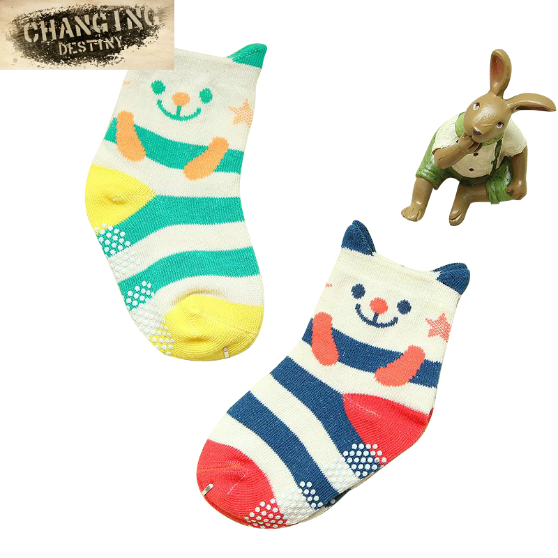 Cartoon Animal 2 Pairs of Stereo Ear Children's Socks Cotton Baby Socks Wholesale Non-slip Spring and Autumn Baby Socks soumit 5 colors professional yoga socks insoles ballet non slip five finger toe sport pilates massaging socks insole for women