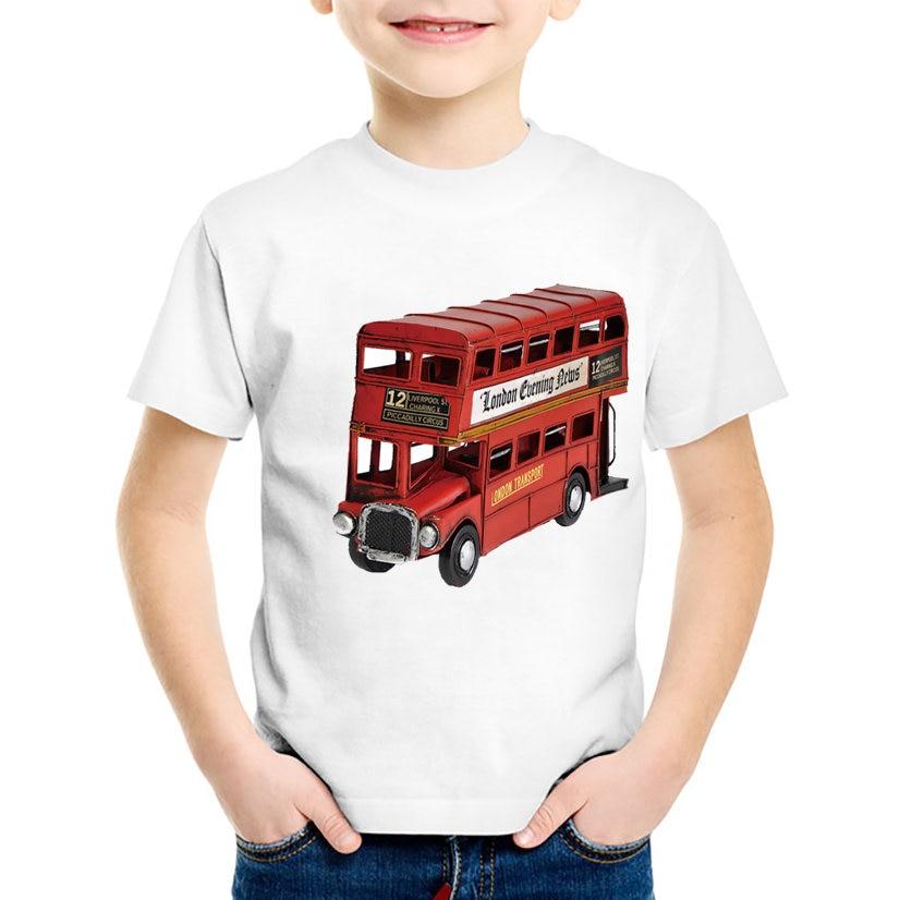 18M-10T Retro British Bus Print T shirt For Boys/girls Summer Vintage t-shirt for Children Baby Girls Clothing TA241