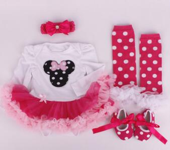 Clothes Wear Fit For 50-57cm Silicone Reborn Baby Doll Toys Dress Shoes Headband Sock 4pcs/set Clothing Suit Doll's Accessories full set top quality 60 cm pvc doll 1 3 girl bjd wig clothes shoes all included night lolita reborn baby doll wedding price shas