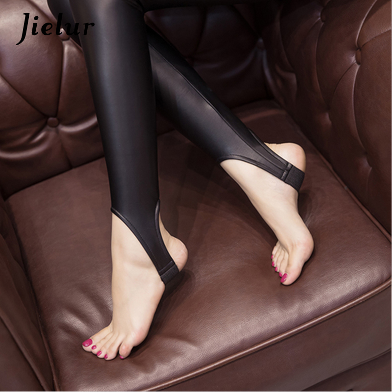 Jielur Fall Winter Warm Fleece Stirrup Leggings Women Chic Black PU Leather Leggins Elegant Lady S-3XL Size Slim Pants Female