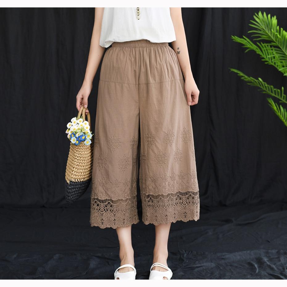 Women Cotton   Wide     Leg     Pants   Embroidery Lace Trousers Big Loose Casual Fashion Retro Vintage for Summer AZ43182017