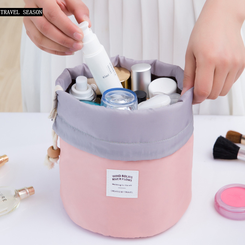 2017 Real New Arrival Barrel Shaped Travel Cosmetic Bag Nylon High Capacity Drawstring Drum Wash Bags Makeup Organizer Storage