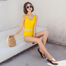 One-piece bikini solid color swimsuit yellow fashion high waist suit trend push authentic brand design 8096