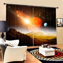 Modern 3D Printed Globe World Map Out Space Stars Theme Window Art Curtains Blackout Drapes for Bedroom Living Room Home Decor