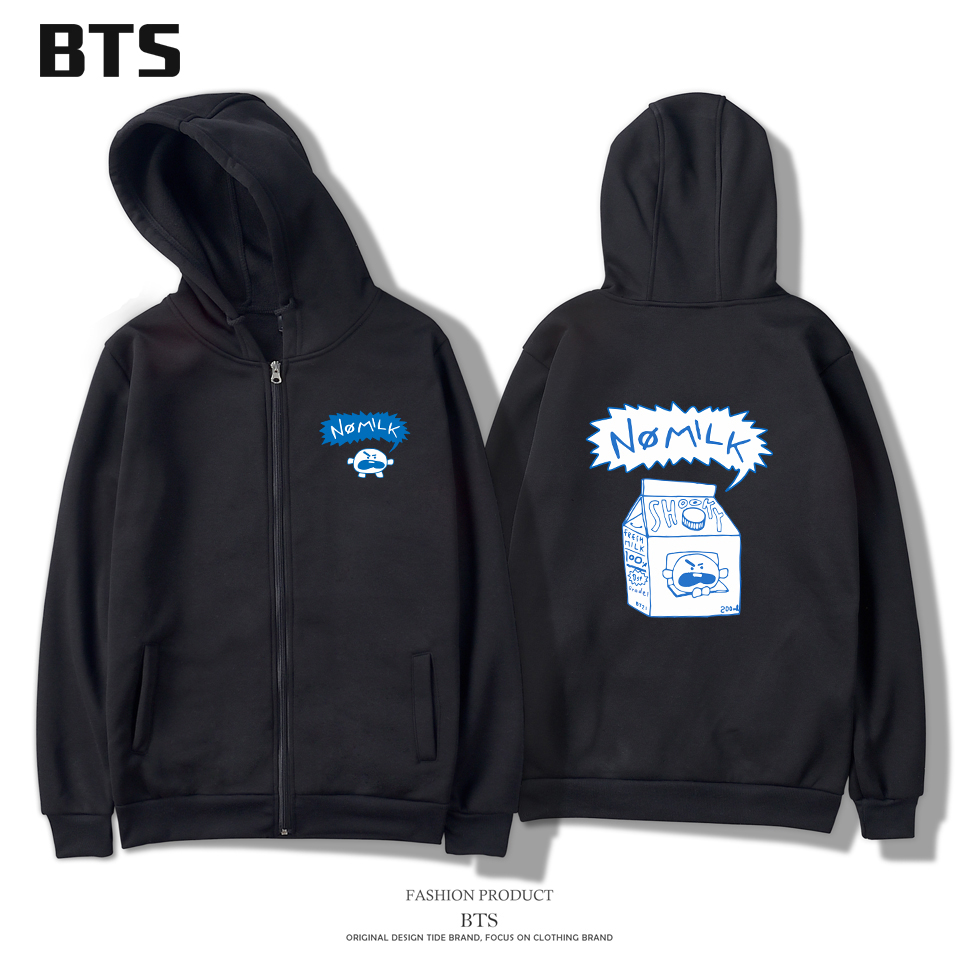 BTS Jungkook Love Yourself Women Hoodies Sweatshirts Zipper Kpop Bangtan Boys Harajuku Winter Long Hoodie Women Zipper Fashion