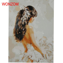 Fashion Girl Frameless Picture On Wall Acrylic Painting By Numbers Abstract Drawing Gift Tableau Peinture Sur Toile