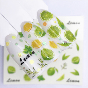1 pcs Fruit Christmas Nail Stickers Flowers pPlants Water Decal Cat Pattern 3D Manicure Sticker Nail Art Decoration m1R02