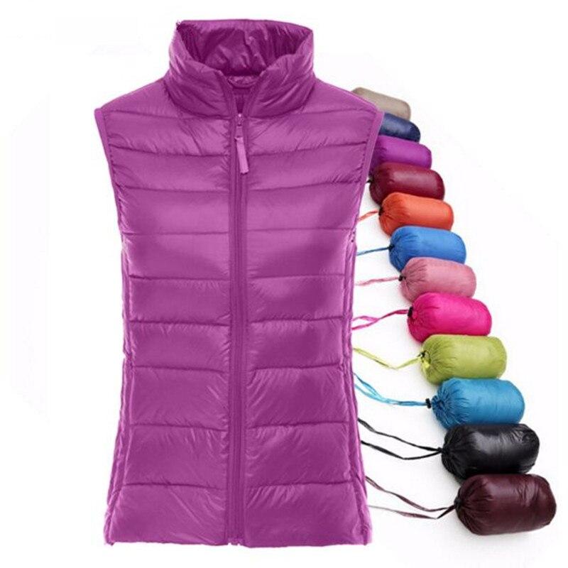 Primavera outono das mulheres 90% pato branco para baixo colete macio quente fino ultra leve colete jaqueta feminina marca colete