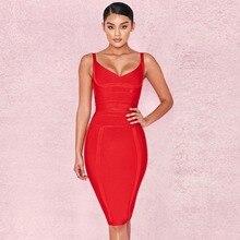 Sensuais Vestido da Atadura Das Mulheres Roupas 2018 Mulheres Bodycon Vestido Bandagem Vestido Da Celebridade Vestido Vermelho Com Decote Em V Party Club Prom Vestidos Roupas