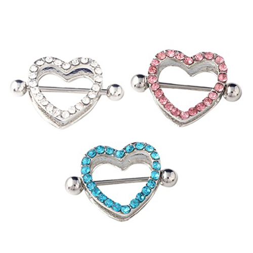 1 Pair Nipple Rings Bars Rhinestone Heart Shape Circle Body Piercing Jewelry Gift ...