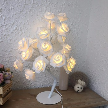 9Pig 24pcs LED White Pink Rose Flower Bedside Bedroom Night Light Table Lamp Home Decor Simulation Tree Christmas Wedding Party 1
