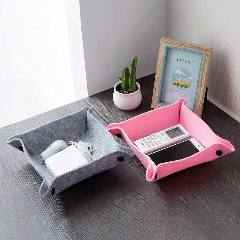 1PC Fabric Felt Desktop Sundries Storage Tray Wearable and Durable Foldable use for Office Livingroom Coffee Table Storage Items
