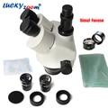 Lucky zoom marca simul-focal 3.5x-45x microscopio zoom estéreo trinocular head wf10x/20 accesorios para microscopios szm0.5x wd165mm