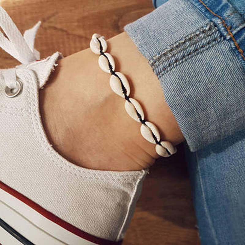 New sea shell anklet ladies bracelet white new boho style barefoot sandals jewelry beach ankle
