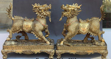 "Scy 007493 14 ""Bronze Chinois 8 Immortels Sommateur Kylin Qilin Licorne Chi-lin Statue Base Paire(China)"