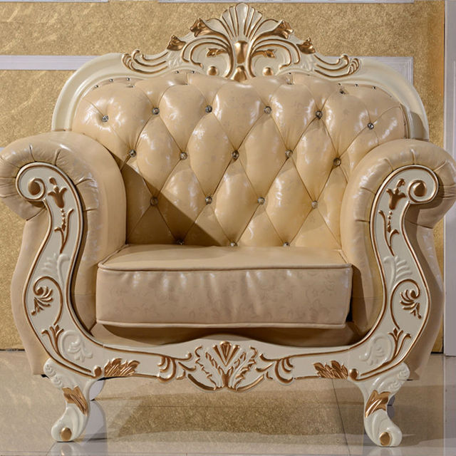 European Leather Sofa Combination Art Sofas Wood Engraving New Clic Europe Type Sitting Room
