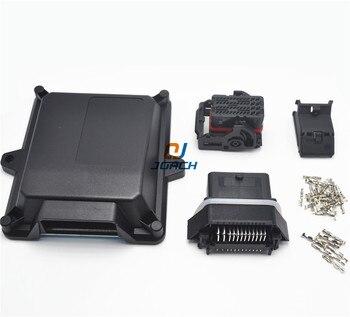 1 Juego de kits de plástico automotriz 48 clavijas forma de caja de carcasa en forma de ecu con conectores