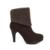 Odetina Vintage Mujeres Del Alto Talón Botines De Piel De Ante Marrón botas de Gran Tamaño de Las Mujeres 2016 de Invierno Cálido Botas de Señoras de La Manera botines