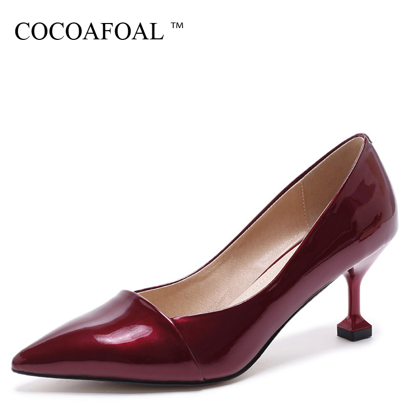 COCOAFOAL Woman Red High Heels Shoes Black Apricot Fashion Sexy Pointed Toe Pumps Genuine Leather Party Wedding Pumps 2018 cocoafoal woman pointed toe pumps pink black brown fashion sexy high heels shoes snakeskin genuine leather career pumps 2017