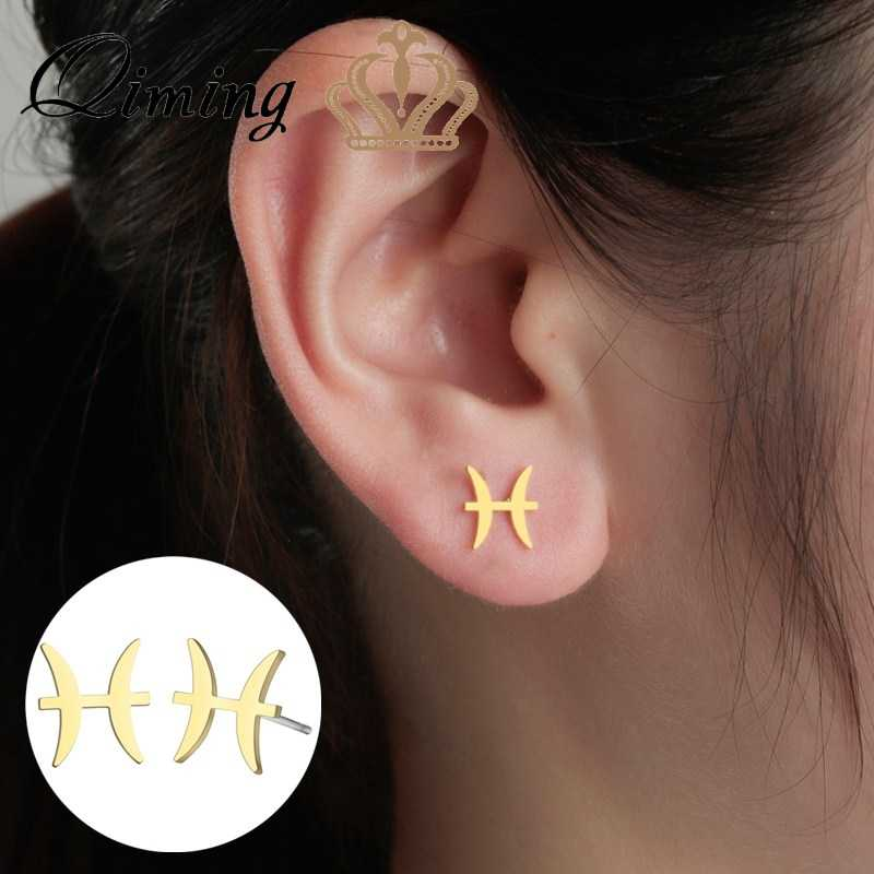 QIMING Female Cute Earrings Elegant Star Zodiac Sign Pisces Charm Stainless Steel Wholesale Jewelry Simple Earring Gift