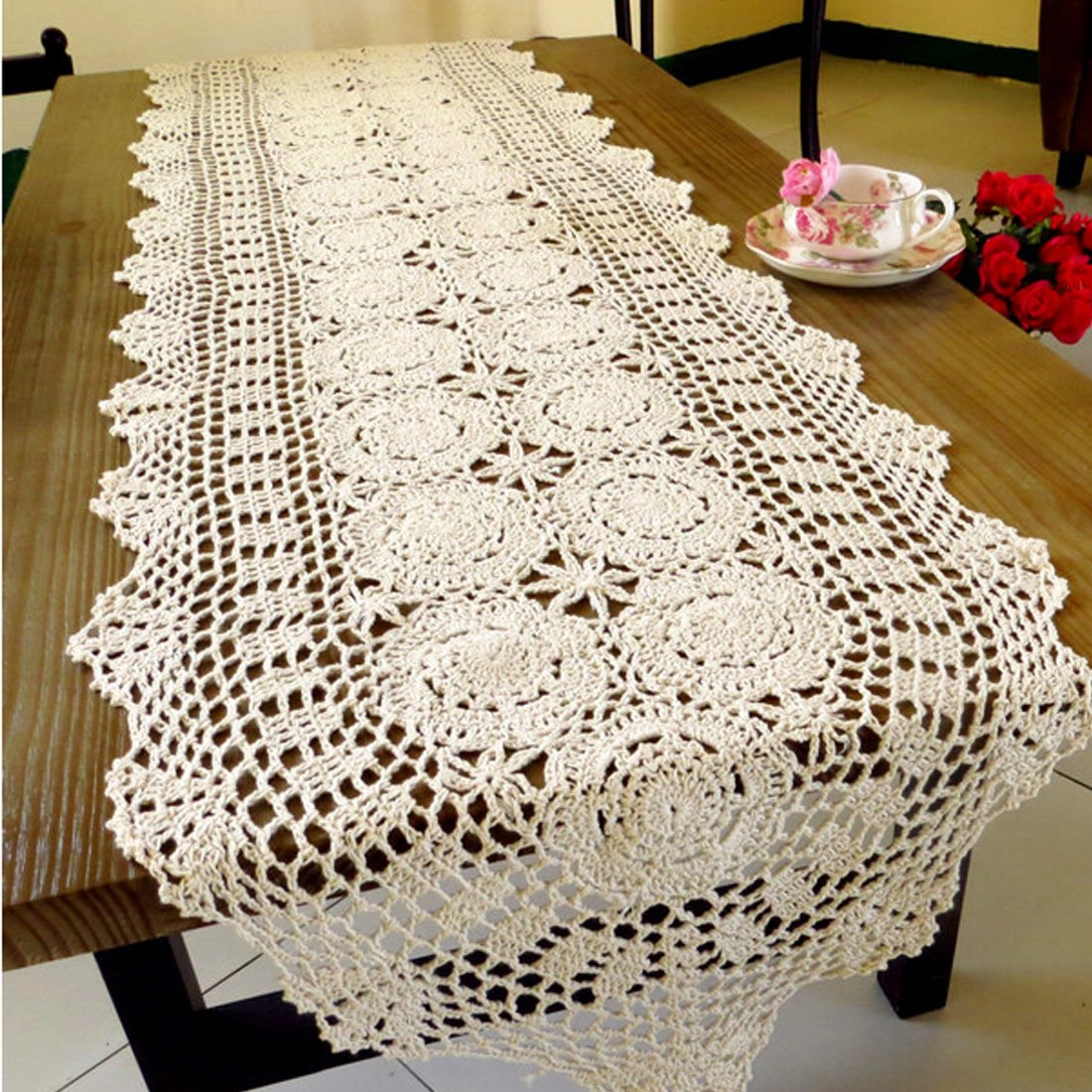 Pa.an Crochet Table Runner Handmade Handicrafts Classic Lace Tablecloth Beige White Table Cover Dropshipping 2019 Decor Gifts