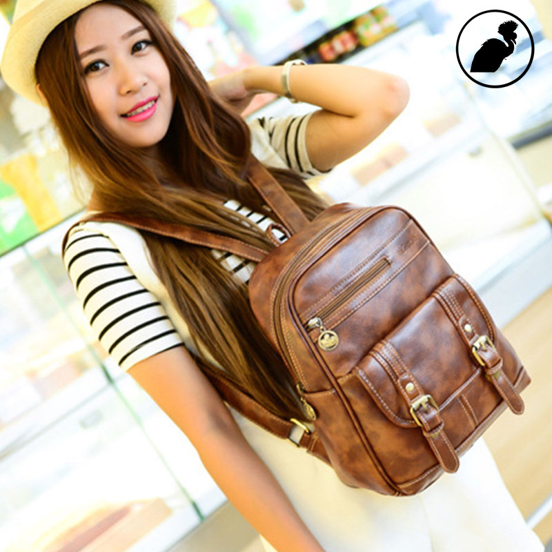ETONWEAG Brands Litchi Rind Leather Backpacks For Teenage Girls Brown Vintage School Bags For Women 2017 Small Travel Backpack