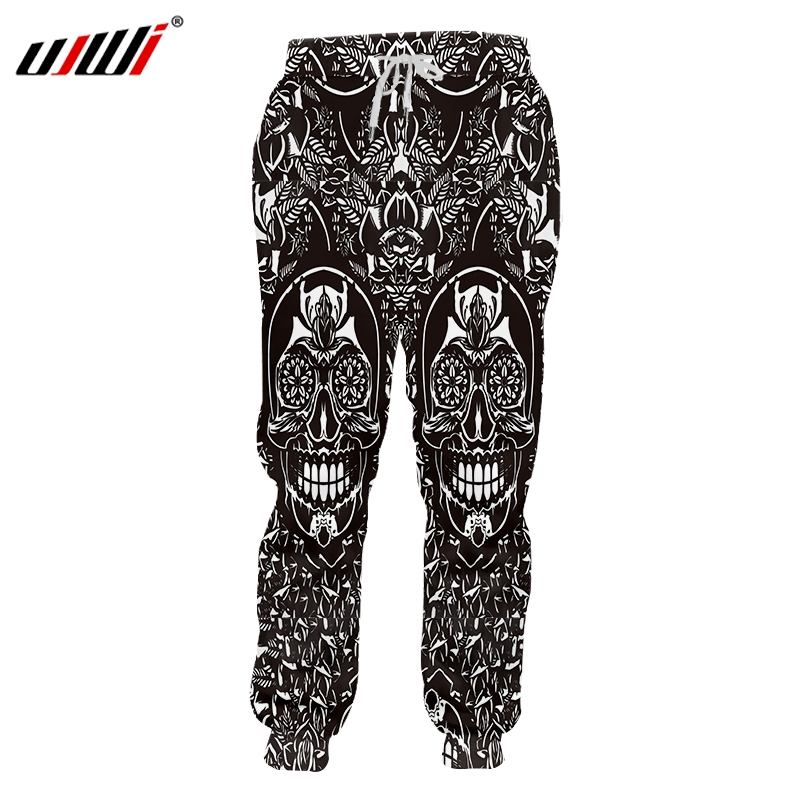 UJWI Man New Elastic Waist Casual Pants 3D Printed Black And White Comics Horror Oversized Habiliment Men's Hip Hop Sweatpants