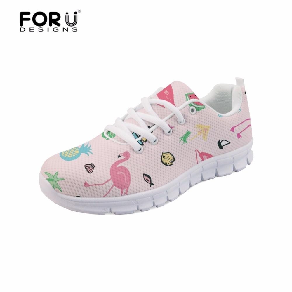 FORUDESIGNS 홍학 인쇄 된 여성 경량 신발 학생 레이스 - 여성 신발