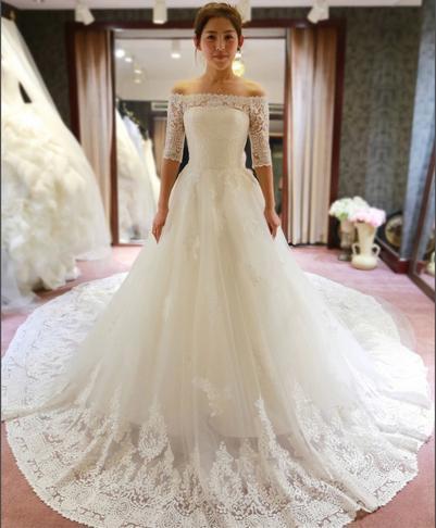 Tren largo vestido de boda atractivo chispeante blanco marfil del vestido de boda weeding vestido 2016