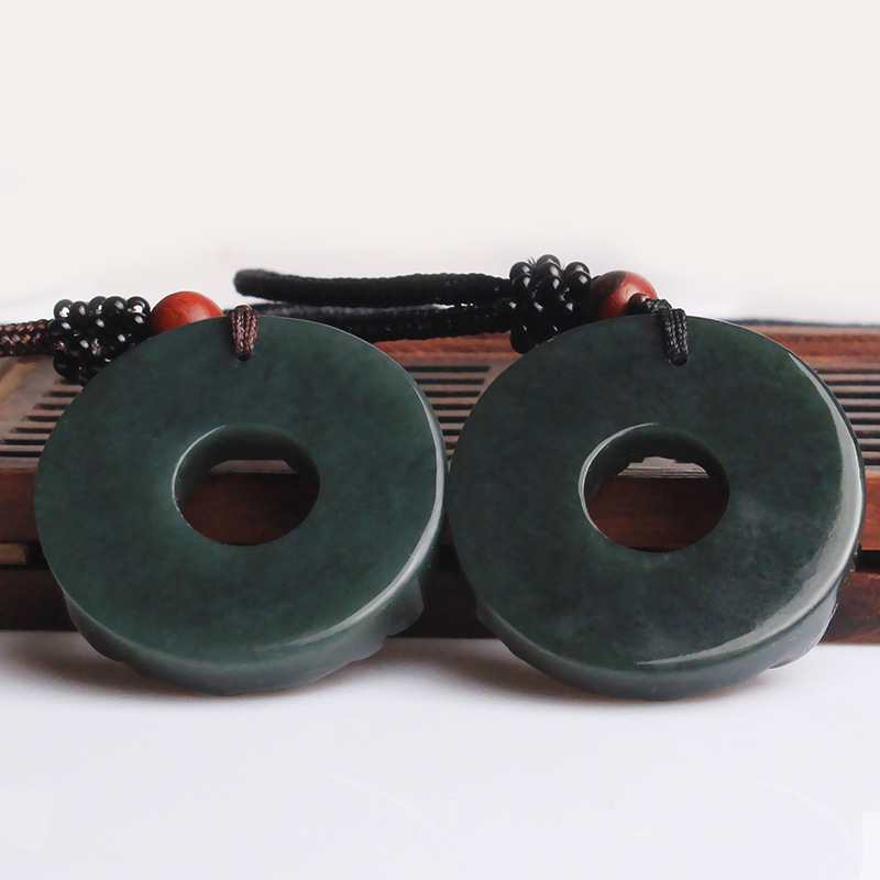 100% Natural Dark Green HETIAN Stone Pendant Round Peace Buckle PIXIU - Fashion Jewelry - Photo 4