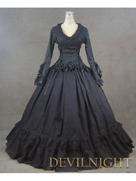 Black Romantic Long Sleeves Gothic Victorian Prom Dress-in Prom ...